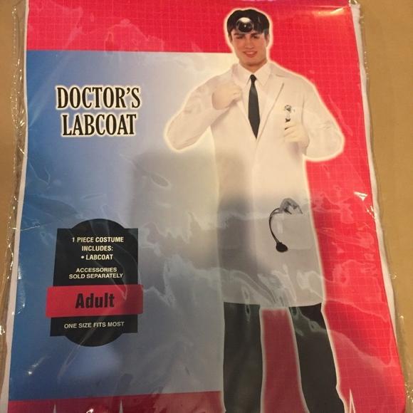 Adult Halloween Costume Doctors Lab Coat One Size Nwt